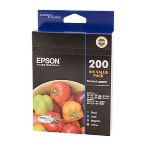 Genuine Epson 200 Value Pack 4pk (B,C,M,Y) ink cartridge - see singles for yield