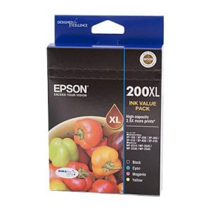 Genuine Epson 200XL Value Pack 4pk (B,C,M,Y) High Yield ink cartridge - see singles for yield