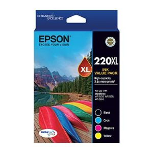 Genuine Epson 220XL Value Pack 4pk (B,C,M,Y) High Yield ink cartridge - see singles for yield