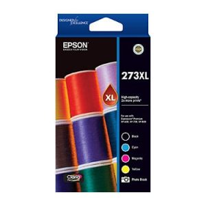 Genuine Epson 273XL Value Pack 4pk (B,C,M,Y) High Yield ink cartridge - see singles for yield