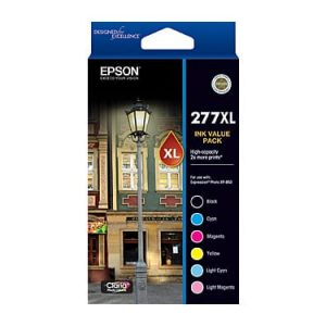 Genuine Epson 277XL Value Pack 6pk (B,C,M,Y,LC,LM) High Yield ink cartridge - 740 pages