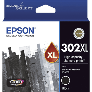 Genuine Epson 302XL Black High Yield ink cartridge - 550 pages