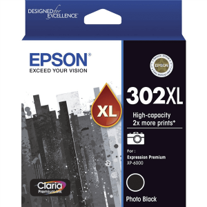 Genuine Epson 302XL Photo Black High Yield ink cartridge - 550 pages