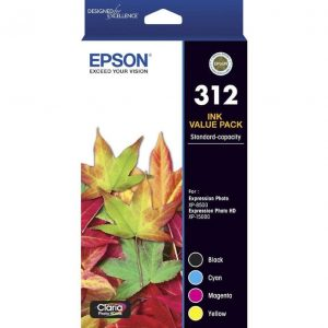 Genuine Epson 312 Value Pack 4pk (B,C,M,Y) ink cartridge - 250 pages each