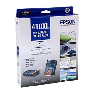 Genuine Epson 410XL Value Pack 5pk (B,PB,C,M,Y) High Yield ink cartridge - see singles for yield