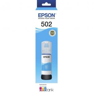 Genuine Epson T502 EcoTank Cyan ink bottle - 6,500 pages