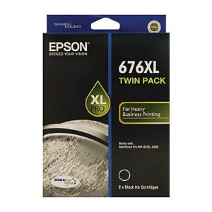 Genuine Epson 676XL Black High Yield ink cartridge 2pk - 2,400 pages each