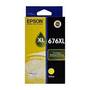 Genuine Epson 676XL Yellow High Yield ink cartridge - 1,200 pages