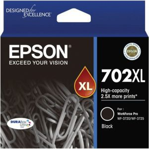 Genuine Epson 702XL Black High Yield ink cartridge - 1,100 pages