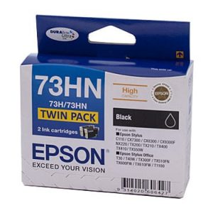 Genuine Epson 73HN (T1041) Black High Yield ink cartridge 2pk - 380 pages each
