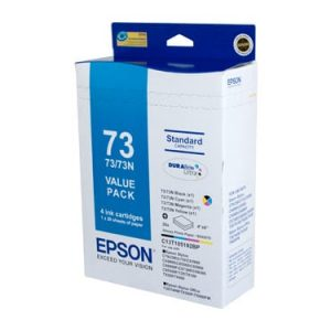 "Genuine Epson 73N (T1051) Value Pack 4pk (B,C,M,Y) ink cartridge & 20 sheets glossy photo paper 6""x 4"" - see singles for yield"
