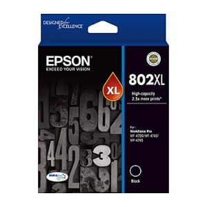 Genuine Epson 802XL Black High Yield ink cartridge - 2,600 pages