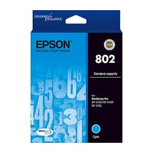 Genuine Epson 802 Cyan High Yield ink cartridge - 650 pages