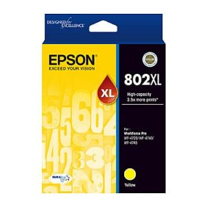 Genuine Epson 802XL Yellow High Yield ink cartridge - 2,600 pages