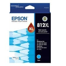 Genuine Epson 812XL Cyan High Yield ink cartridge - 1,100 pages