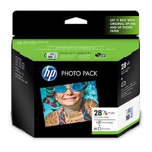 "Genuine HP 28 (Q8893AA) Photo Value Pack Colour ink cartridge & 25 sheets glossy photo paper 6""x 4"" - 190 pages"
