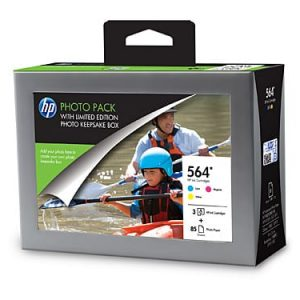 Genuine HP 564 Value Pack 3pk (C,M,Y) & 85 sheets glossy photo paper - see singles for yield
