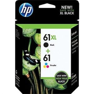 Genuine HP 61XL Black & HP 61XL Colour (J3N03AA) Photo Value Pack 2pk & 60 sheets glossy photo paper 10x15cm - see singles for yield