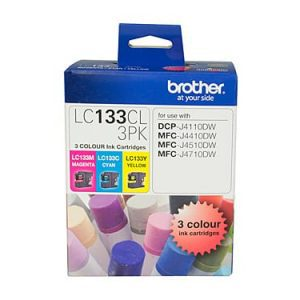 Genuine Brother LC-133 Value Pack 3pk (C,M,Y) ink cartridge - 600 pages each