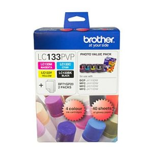 Genuine Brother LC-133 Photo Value Pack 4pk (B,C,M,Y) ink cartridge plus photo paper - see singles for yield