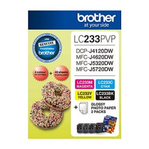 Genuine Brother LC-233 Photo Value Pack 4pk (B,C,M,Y) ink cartridge plus photo paper - see singles for yield