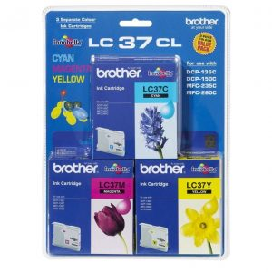 Genuine Brother LC-37 Value Pack 3pk (C,M,Y) ink cartridge - 300 pages each