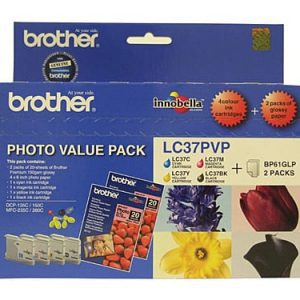 Genuine Brother LC-37 Photo Value Pack 4pk (B,C,M,Y) ink cartridge plus photo paper - see singles for yield