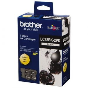 Genuine Brother LC-38 Black ink cartridge 2pk - 300 pages each