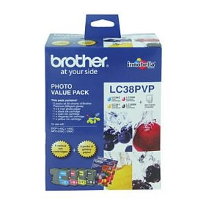 Genuine Brother LC-38 Photo Value Pack 4pk (B,C,M,Y) ink cartridge plus photo paper - see singles for yield