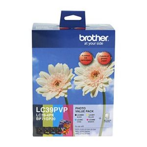 Genuine Brother LC-39 Photo Value Pack 4pk (B,C,M,Y) ink cartridge plus photo paper - see singles for yield
