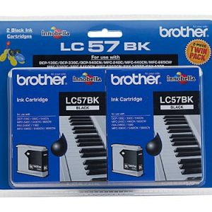 Genuine Brother LC-57 Black ink cartridge 2pk - 500 pages each