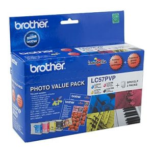 Genuine Brother LC-57 Photo Value Pack 4pk (B,C,M,Y) ink cartridge plus photo paper - see singles for yield
