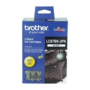 Genuine Brother LC-67 Black ink cartridge 2pk - 450 pages each