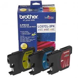 Genuine Brother LC-67 Value Pack 3pk (C,M,Y) ink cartridge - 325 pages each