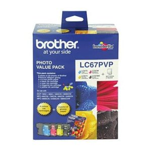 Genuine Brother LC-67 Photo Value Pack 4pk (B,C,M,Y) ink cartridge plus photo paper - see singles for yield