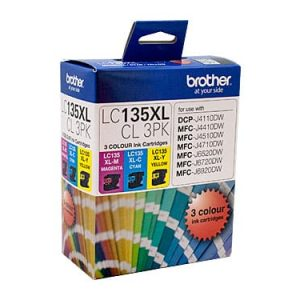 Genuine Brother LC-135XL Value Pack 3pk (C,M,Y) ink cartridge - 1200 pages each