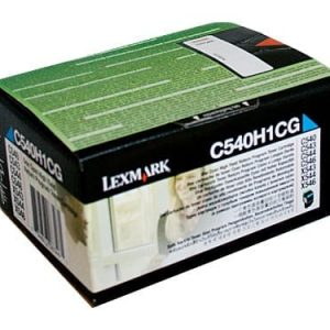 Genuine Lexmark C540H1CG (C540) Cyan High Yield toner cartridge - 2,000 pages