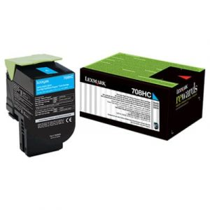 Genuine Lexmark 70C8HC0 (708HC) Cyan High Yield toner cartridge - 3,000 pages