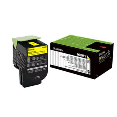 Genuine Lexmark 70C8HY0 (708HY) Yellow High Yield toner cartridge - 3,000 pages