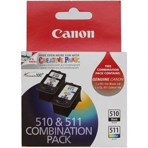 Genuine Canon PG-510 Black ink cartridge & CL-511 Colour ink cartridge 2pk - see singles for yield