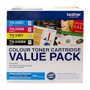 Genuine Brother TN-240 Value Pack 4pk (B,C,M,Y) toner cartridge - see singles for yield